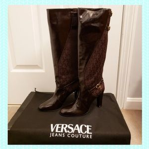 Versace Jeans Couture Logo Heel Boots